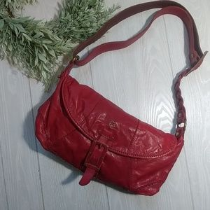 Lucky brand lambskin leather red boho crossbody